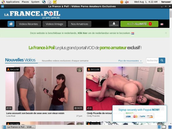 La France A Poil Pay Using